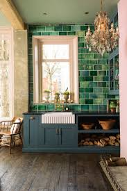 best 25 green tiles ideas on pinterest green kitchen tile green metro tiles deep blue cupboards an antique chandelier and original wooden floorboards