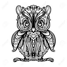 tribal owl tattoo owl isolated in black and white vector royalty free cliparts