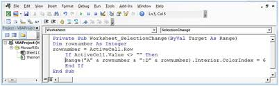 how to change color of the row with a click using vba in microsoft