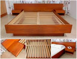 Platform Bed Headboard Bedroom Floating Bed Frame Headboard With Attached Nightstands