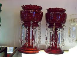 Cut Crystal Vases Antique Mantle Lustres