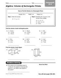 algebra volume of rectangular prisms homework 21 4 5th 6th