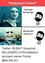 Trolled Meme - voldemort trolled god made no one ugly am l ugly who the hell