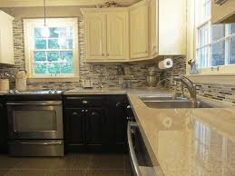 Oven Backsplash Kitchens With Two Different Colored Cabinets Drawer Knobs Gold