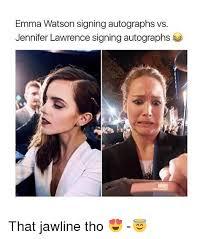 Lawrence Meme - emma watson signing autographs vs jennifer lawrence signing