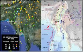 Earthquake World Map by 24 Aug 2016 M U003d6 8 Burma Earthquake Reveals How Oblique Plate