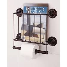 neu home 15 12 in w wall mount magazine rack with toilet paper