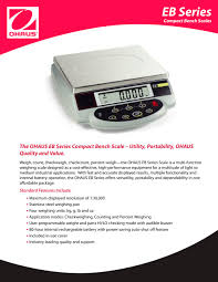 Ohaus Bench Scale Multi Function Scale Eb 30 Ohaus Pdf Catalogue Technical