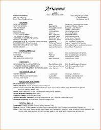 musical theatre resume exles 2 sle acting resume fresh 9 musical theatre resume resume