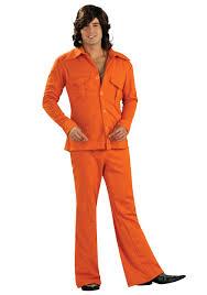 halloween hippie costume men u0027s orange leisure suit 1970 u0027s men u0027s halloween costume