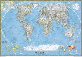 political world map standard size wall maps