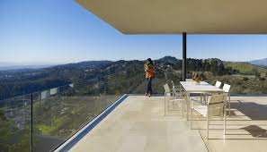 glass patio railing deck modern with white stucco modern table