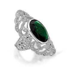 oval green emerald color cz gatsby inspired armor ring art deco