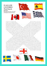 Flags Countries Crossword And Wordserch For Kids Esl