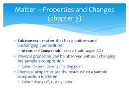 density of table salt substances matter that has a uniform and unchanging composition