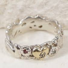 sterling silver 14k gold designer ruby letter d heart ring