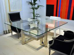 Sleek Stainless Steel Dining Tables - Glass dining room table bases