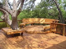 desks big leavy trees bench cool outside decks ideas