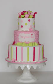pink green and polka dot baby shower cake the couture cakery
