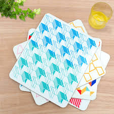 stylish placemats featuring vibrant geometric designs by rolfe
