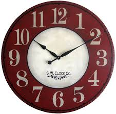 24 inch devonshire large wall clock antique style red cream french