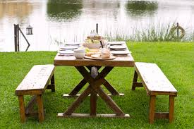 Wooden Picnic Tables With Separate Benches 13 Free Picnic Table Plans In All Shapes And Sizes