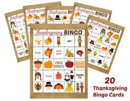 set of 2 printable thanksgiving bingo