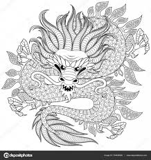 chinese dragon in zentangle style for tatoo antistress