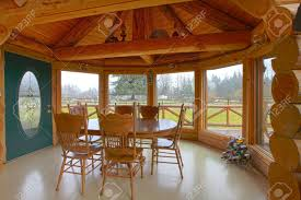 Log Cabin Dining Room Furniture Log Cabin Breakfast Area With Dining Room Table And Farm View