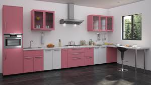 Color Kitchen Ideas Pink U0026 White Colour Modualr Kitchen Designs Straight Kitchen