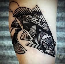 cool geometric fish fish tattoos
