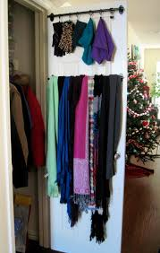 cleaning closet ideas organizing winter scarves with hooks and holder behind the door in