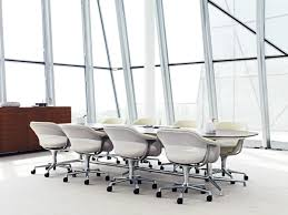 Modern Boardroom Tables Furniture Oval Glass Conference Table Connected By White Swivel