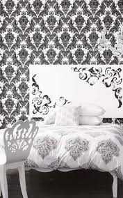 house decorating ideas with damask wallpaper in the bedroom and