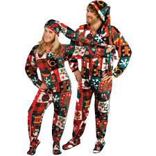 footie pajamas halloween costumes ugly christmas sweater fleece drop seat footed pajamas with long