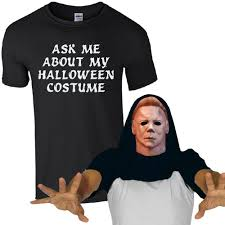 gorilla halloween mask ask me about my halloween costume mike myers t shirt