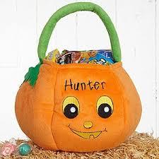 buy personalized halloween pumpkin boys plush trick or treat bag