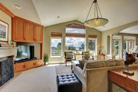 Vaulted Living Room Ceiling Vaulted Ceiling Living Room Interior In Luxury House Stock Photo