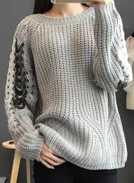 pullover sweater s fashion lace up sleeve pullover sweater roawe com