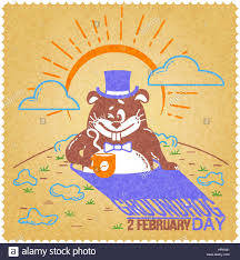 greeting card holiday happy groundhog icon linear