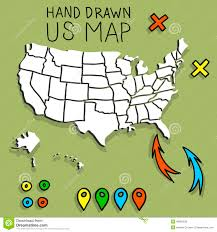 Map With Pins Hand Drawn Us Map With Pins Stock Vector Illustration Of Sketch