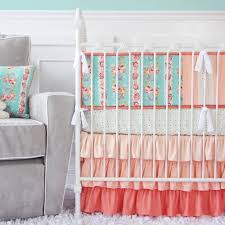 Nursery Bedding And Curtains by Bedroom White Crib With Coral And Turquoise Bedding Plus Wooden