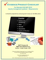 Iso 9001 Quality Policy Statement Exle by Iso Standard 9001 2015 Evidence Product Checklist Quality Management