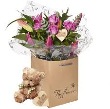 flower gift pink and bouquet flower gift with teddy
