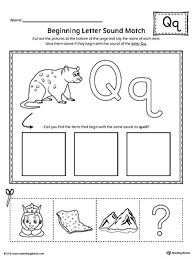 letter q beginning sound picture match worksheet