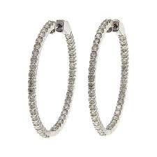 gold diamond hoop earrings 14k gold 3 9ctw diamond hoop earrings 8609476 hsn