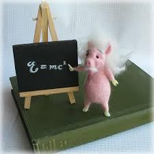 Pig Decor For Home by Einstein Pig Felted Model Albert Einschwein Needle Felting