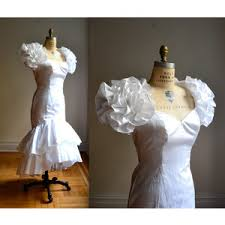 80s Prom Dress White 80s Prom Dress With Puff Sleeves White 80s Wedding Dre