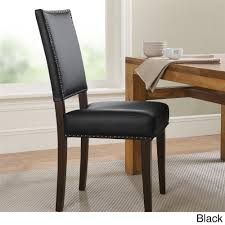 Parsons Dining Chairs Furniture Contemporary Dark Black Nail Head Parsons Chairs For