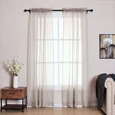 Amazoncom LOFT store Beige Sheer CurtainsRod Pocket Hazy Sheer